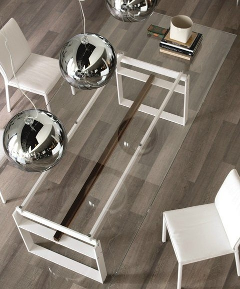 Rectangular #crystal and stainless steel #table JEREZ by Cattelan Italia | #design Alberto Danese