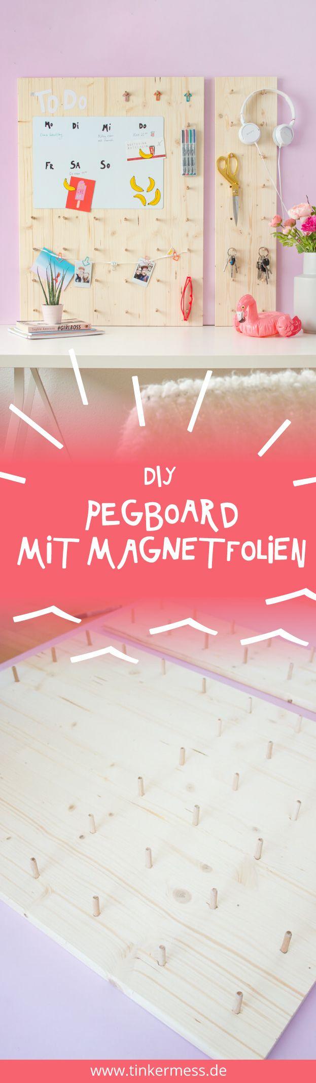 Heute zeige ich euch eine einfache Anleitung für ein Pegboard, mit einem Terminkalender aus beschreibbarer Magnetfolie und DIY Bananenmagneten.
