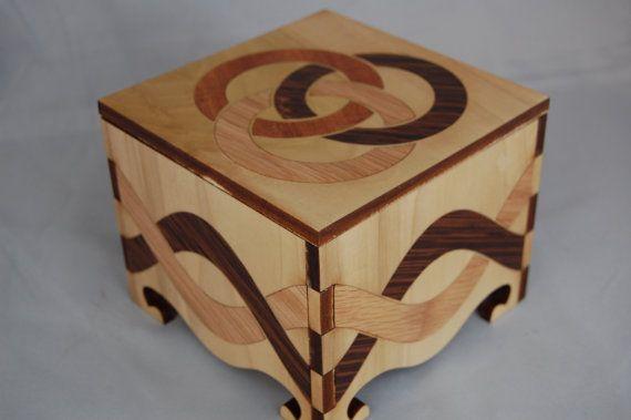 Small Keepsake Box decorated with inlays of by RavenWoodGripsLLC