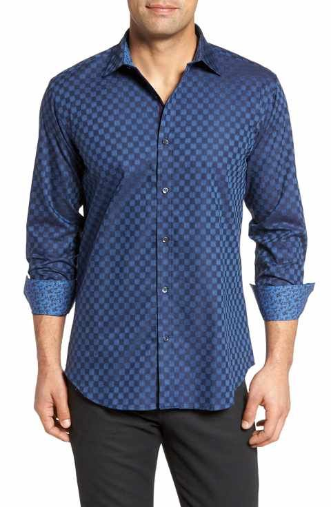 Bugatchi Slim Fit Square Jacquard Sport Shirt