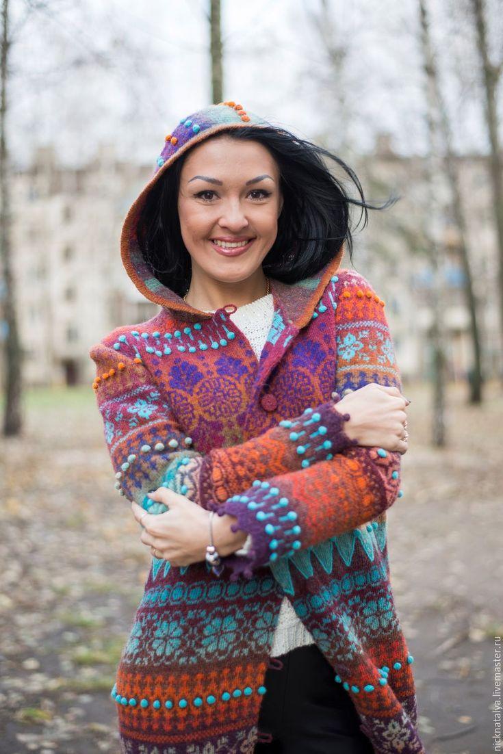 """Купить Пальто """"Краски.Октябрь"""" - разноцветный, дундага, шерстяное пальто, осенняя мода, демисезонное пальто"""
