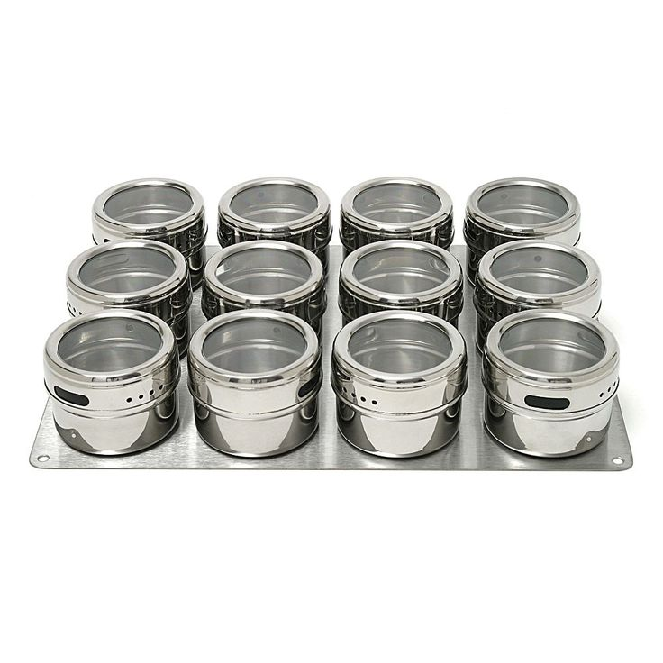 Lipper Soho 12-pc. Stainless Steel Spice Container Set, Multicolor