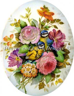 counted bouquets of roses cross stitch vintage | Finished Miniature Needlework Sunflower in Petitpoint