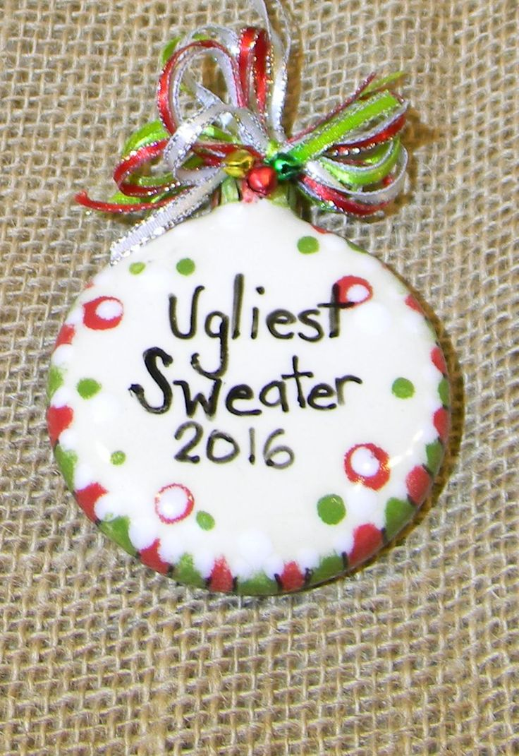 Ceramic christmas ornaments - Ugliest Sweater 2016 Ugly Sweater Contest Winner Christmas Ceramic Ornament Award For The Awful Sweater