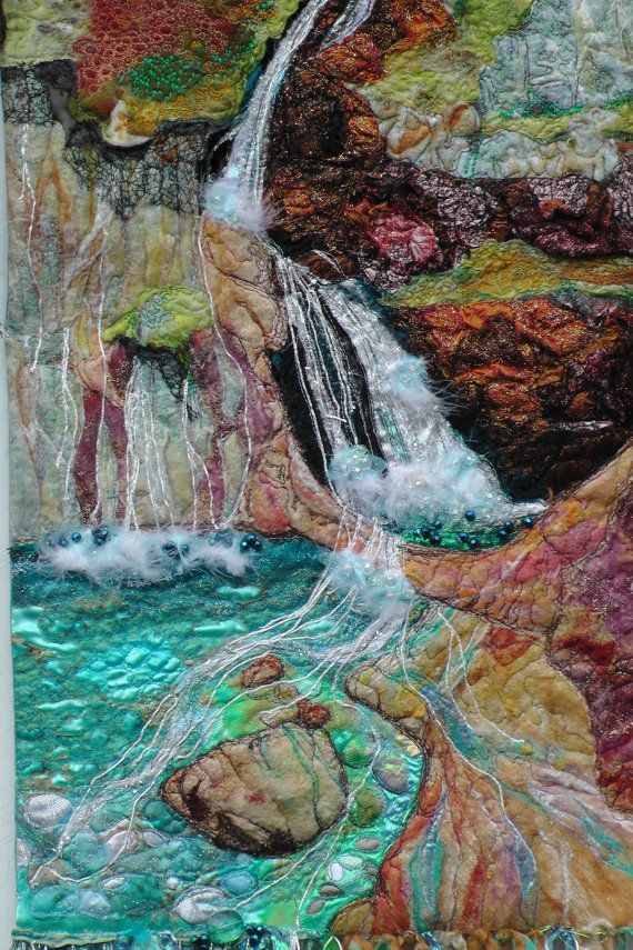 Wall Hanging. Textile Art  Waterfall. Fantasy landscape. Fairy. Pools. Embroidery. Water. Embroidery Materials: silk, embroidery threads, wool, mixed textiles, driftwood, feathers, angelina fibres, clingfilm, beads