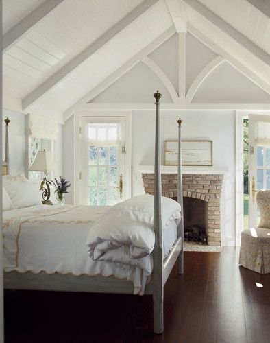 pale blue walls, white beams, planked ceiling