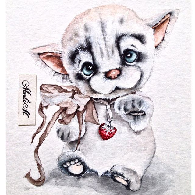 Котенок, но с другим цветом глаз💚 @bronnikovatatiana надеюсь узнает своего малыша, но для вас будет оригинальный цвет глазок😉 #котенок#cat#handmade#рисунок#акварель#иллюстрация#drawing#watercolor#artwork#illustration#sketch#sketching