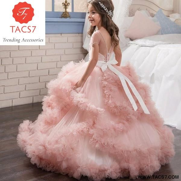 Stunning V Back Luxury Pageant Tulle Ball Gowns For Girls 2 13 Year Old Pink Color Little Princess Flower Girl Dresses Party Princess Flower Girl Dresses Gowns For Girls Flower Girl Dress Lace