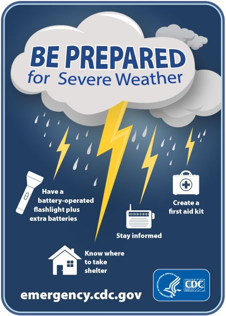 Be prepared for spring storms! Know where you can take shelter. Make sure to bring a working flashlight and radio and that you have extra batteries in case of a power outage.