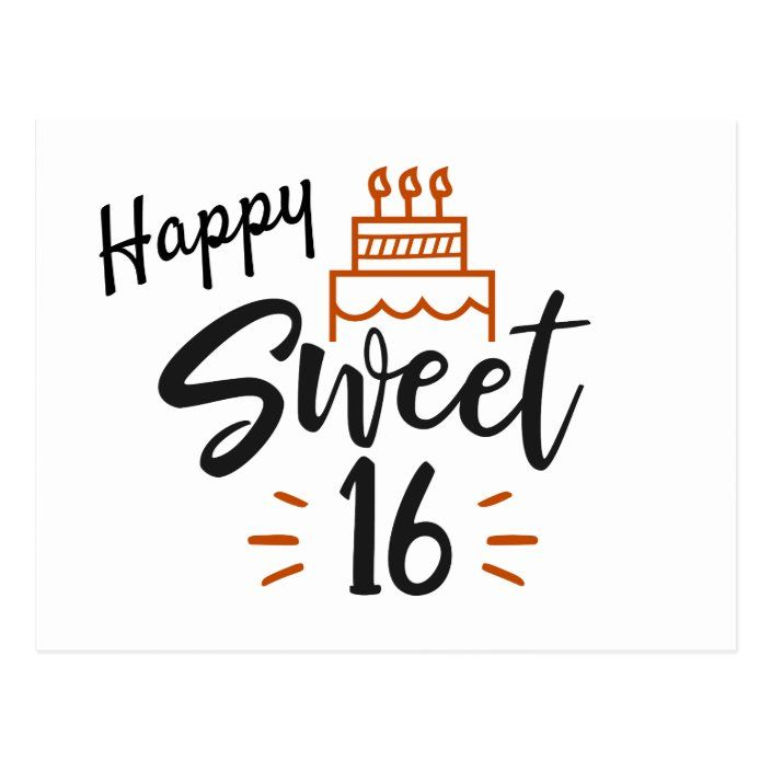 Happy Sweet 16 Birthday Postcard Zazzle Com Birthday Postcards Happy Birthday Font Happy 16th Birthday