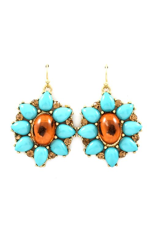 Emily Earrings in Chocolate and Turquoise