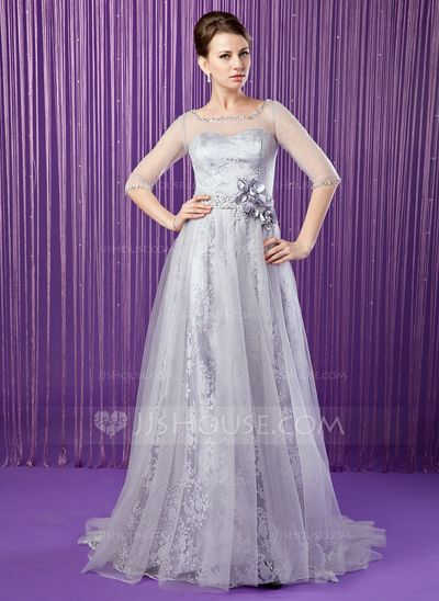 Mother of the Bride Dresses - $156.99 - A-Line/Princess Scoop Neck Sweep Train Tulle Charmeuse Lace Mother of the Bride Dress With Beading Flower(s) Sequins (008018962) http://jjshouse.com/A-Line-Princess-Scoop-Neck-Sweep-Train-Tulle-Charmeuse-Lace-Mother-Of-The-Bride-Dress-With-Beading-Flower-S-Sequins-008018962-g18962?ver=0wdkv5eh