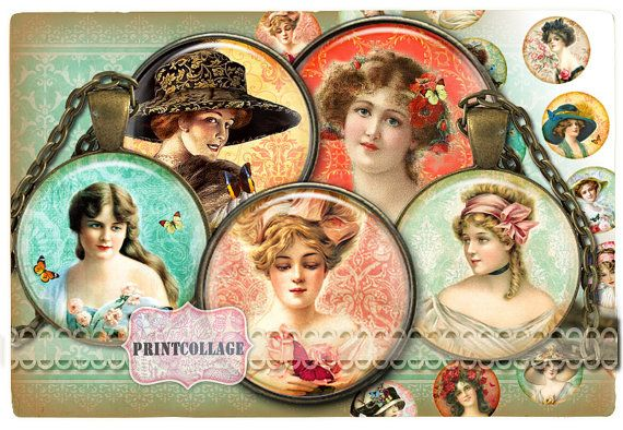 Cabochon images Digital Collage Sheet Victorian by PrintCollage