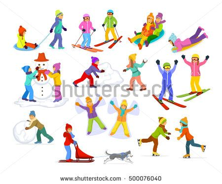 Children enjoying winter fun activities in snow and ice : sledding, skiing, ice figure skating, paying snow ball game, making  of snowman,  riding sled with husky
