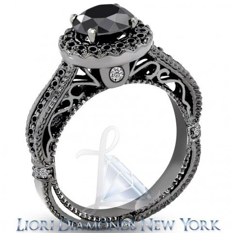 2.27 Carat Certified Natural Black Diamond Engagement Ring 14k Black Gold - Black Diamond Engagement Rings - Engagement - Lioridiamonds.com This is some intense detailing!