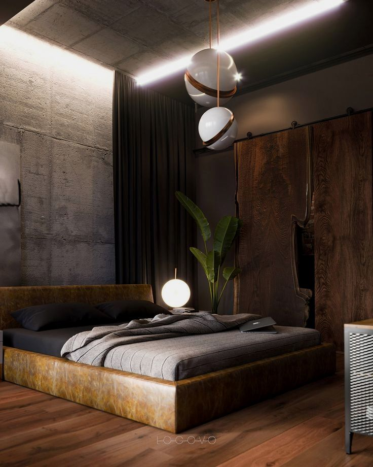A Modern Industrial Loft Style Home With Concrete Walls A Home Office And Teal With Images Industrial Bedroom Design Industrial Apartment Decor Industrial Decor Bedroom