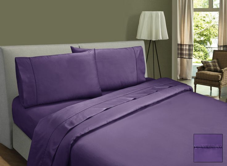 500 Thread Count Egyptian Cotton Sateen Sheet Set Fitted sheet with 40cm wall, flat & pillowcases with ladder stitching.