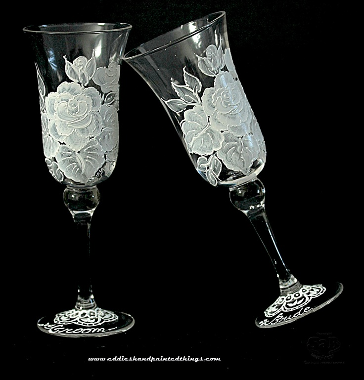 White Vintage Rose Hand Painted Champagne Glasses - 2 Flutes