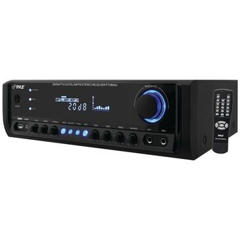 This 300-Watt Digital Home Stereo Receiver System with USB/SD Card Reader from Pyle Home brings music to any room with crystal clear sound. The 4-Channel high-power system provides power for up to 4 l