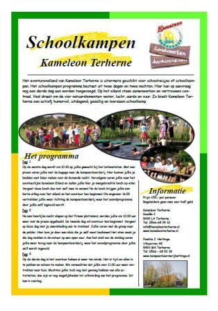 Schoolkamp 2017/2018? Terherne, compleet georganiseerd. http://www.kameleonterherne.nl/wat-te-doen/groepen/scholen/