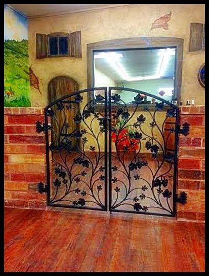 Iron Wine Cellar Inspired Garden Style Gate - Artistic Grapevine Double Door