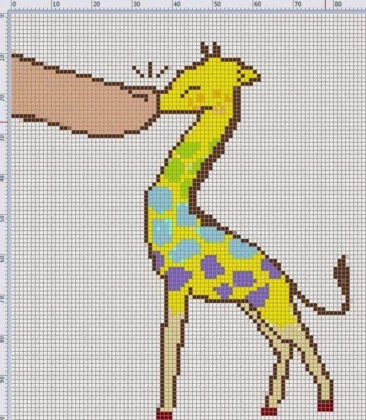 Картинки по клеткам жираф