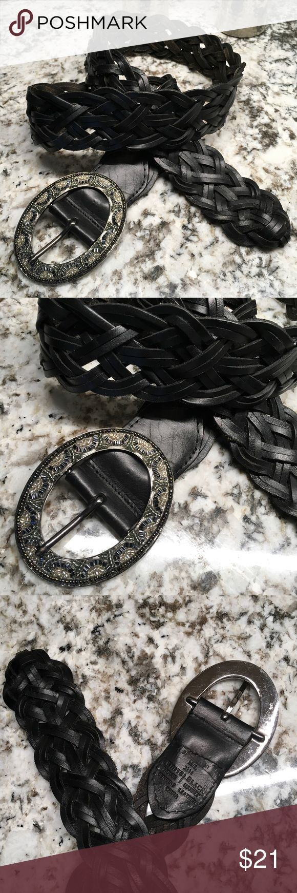 "White House/Black Market Woven Leather Belt Like-new belt from White House/Black Market.  All leather.  Black woven.  Overall length is 42"".  Closed max length is 39"".  No defined holes so you can cinch this as tightly as you'd like!   1 3/4"" wide.  Buckle is moderately embellished and measures 3 1/2"" by 2 3/4"". White House Black Market Accessories Belts"