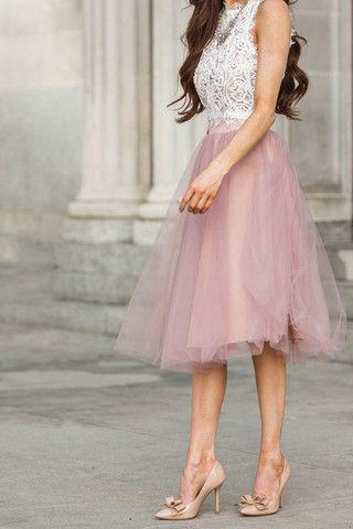 Jacqueline Dusty Rose Tulle Midi Skirt