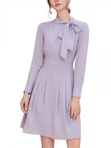 5a3da12843 White Hollow Out Fishtail Hem Lace Dress. Orchid Tie Neck Ruched Front Mini  Dress