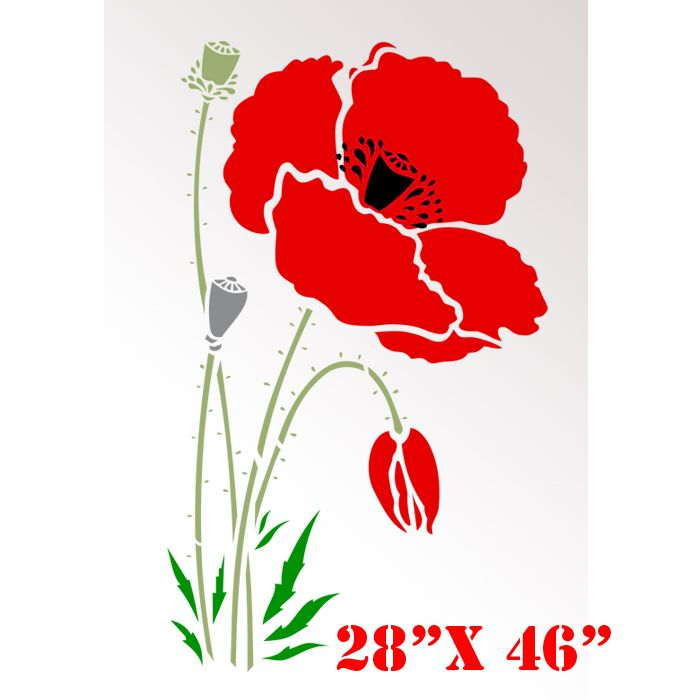 Elegant Large Printable Stencils For Walls Stencil Boss Poppy Red Large  Flowers Pattern Wall Stencil With Garden Stencils For Walls