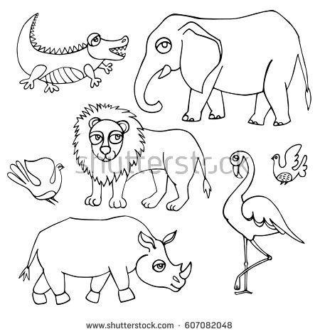 African animals set. Vector illustration