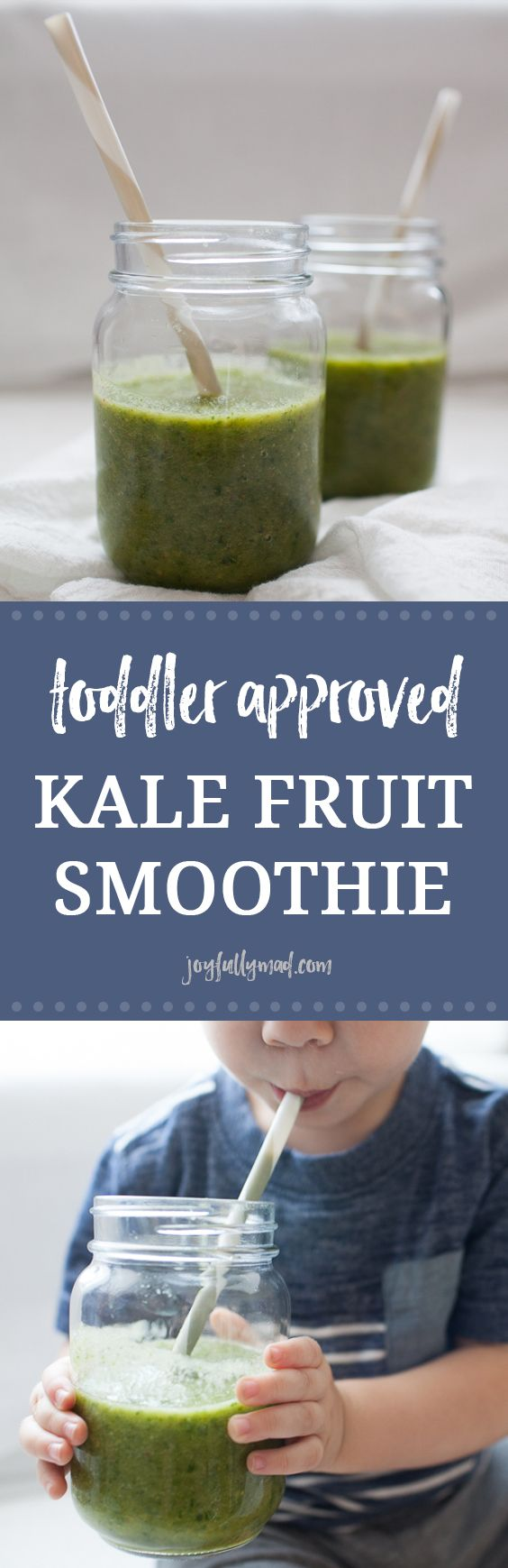 This toddler approved kale fruit smoothie is the perfect summer treat! It's packed with fruits and vegetables, refined sugar and dairy free, and so tasty! The whole family, kids and adults, will love this easy smoothie recipe!