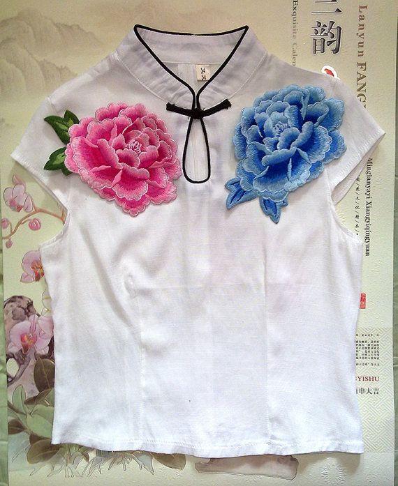 Peonía applique del bordado vintage remiendo vestido