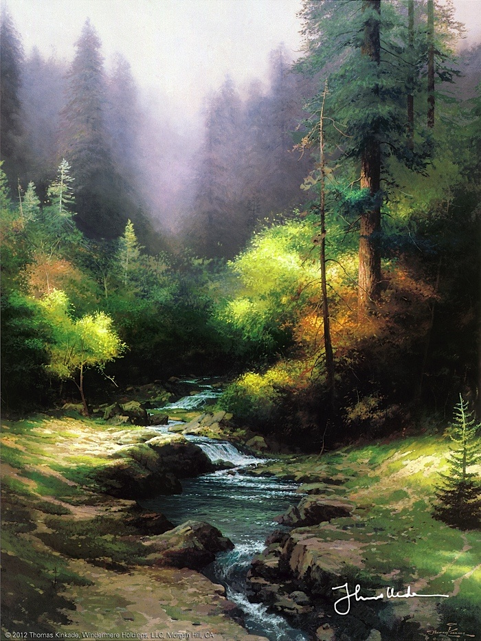 Thomas Kinkade - Creekside Trail  1994: Thomas Kincaid, Thomas Kinkaid, Kinkade Art, Thomas Kincade, Artists Thomas, Art Thomas, Thomas Kinkade, Painting, Creekside Trail
