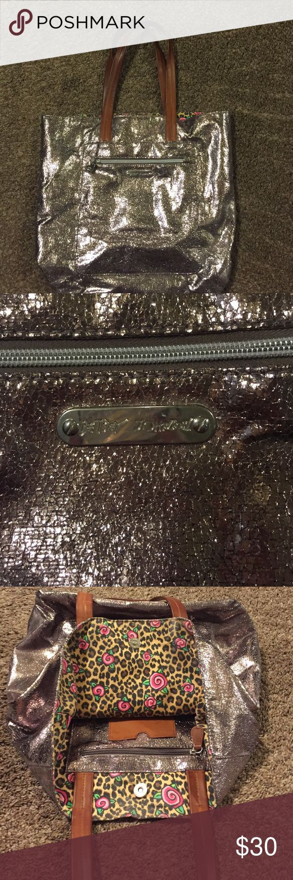 FINAL PRICE $11 Betsey Johnson Tote Bag Betsey Johnson Metallic purple/grey Tote Bag. Zipped compartment on outside and inside of bag. Betsey Johnson Bags Totes