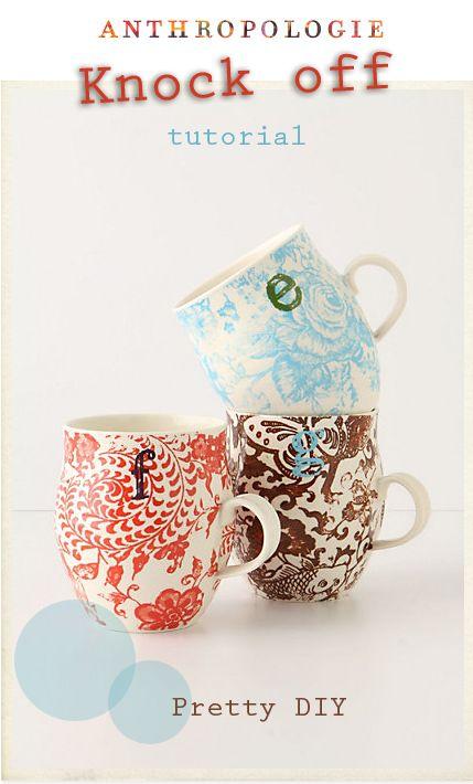diy anthropology mugs: Anthropology, Gifts Ideas, Cups, Homegrown Monograms, Memorial Mugs, Bridesmaid Gifts, Anthropology Monograms, Cute Mugs, Coffee Mugs