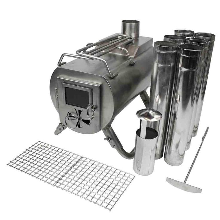"""Gstove Portable Tent Wood Stove (15"""" x 8"""" x 7"""") Stainless Steel Kit #camping"""