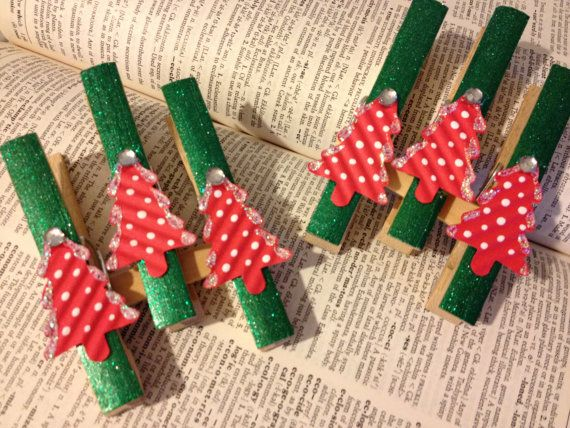 Bamboo Clothes Pins, Christmas Ornament, Package Topper, Wrapping Paper, Paper Pin, Holiday Decoration, Gift Wrap