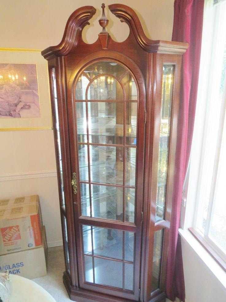 PULASKI FURNITURE Lighted Corner Cherry Pediment Top Curio Cabinet #Pulaski  | Everything | Pinterest | Pulaski Furniture, Cherries And EBay