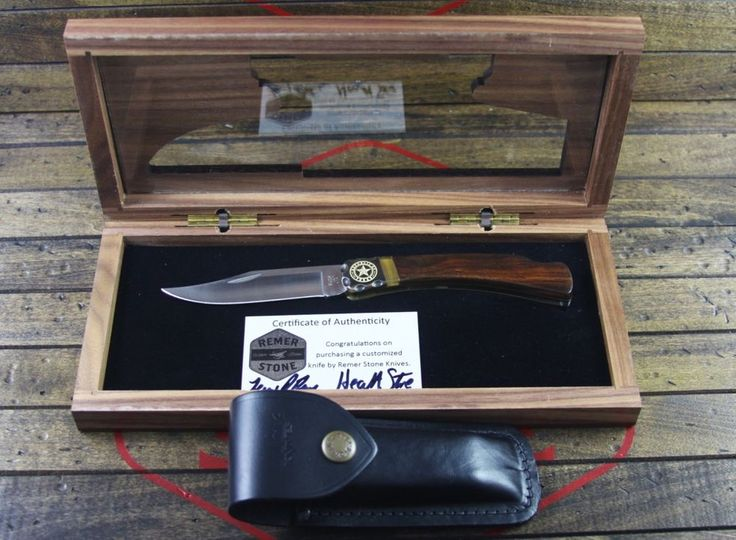 Custom Buck Knife 110 Folding Hunter Cocobolo Wood Texas By: Remer Stone Knives #Buck