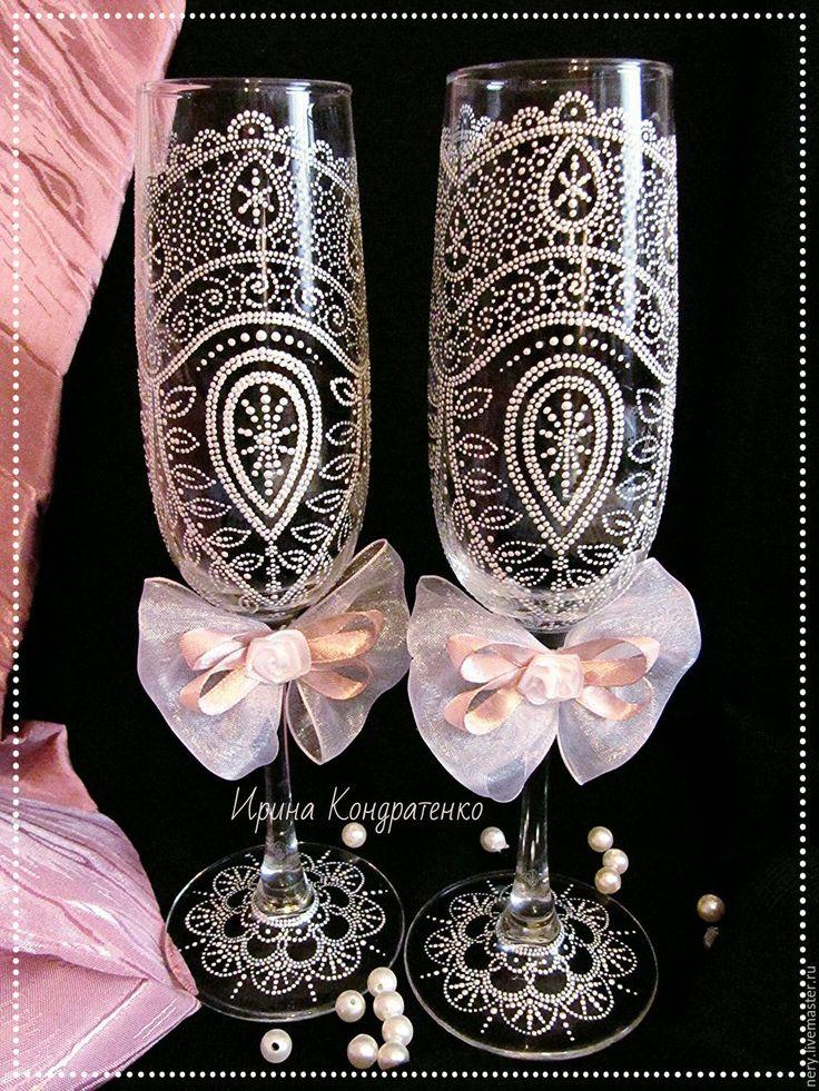 Купить Свадебные бокалы - белый, свадьба, свадебные бокалы, роспись бокалов, Роспись по стеклу
