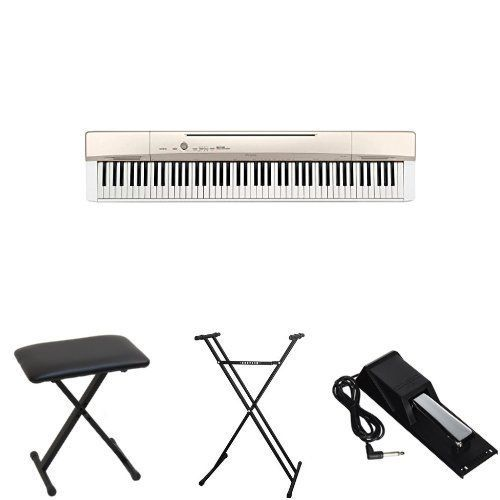 Casio Privia PX160GD 88-Key Full Size Digital Piano Bundle with Casio Bench, Stand, and Sustain Pedal ** You can find out more details at the link of the image.