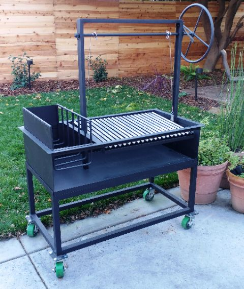 "Ash - Argentine Grill with Side Brasero (48.5"" X 24.5"" X 12.5"") adjustable grill grate & wheel."