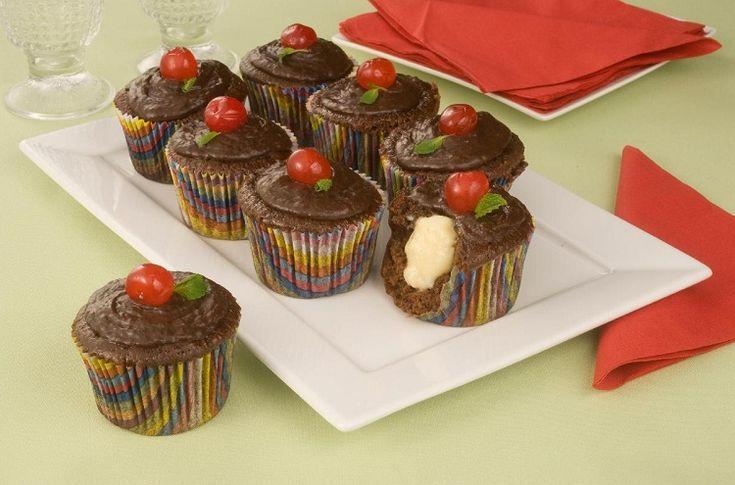 Receita de cupcake de chocolate recheado