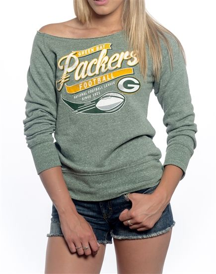Green Bay Packers Off Shoulder Womens Sweatshirt