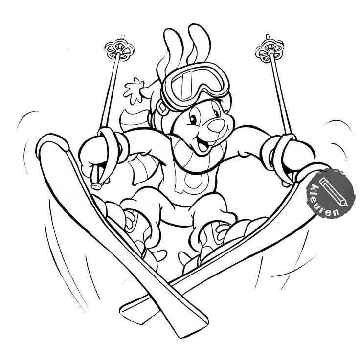 kleurplaat wintersport sport