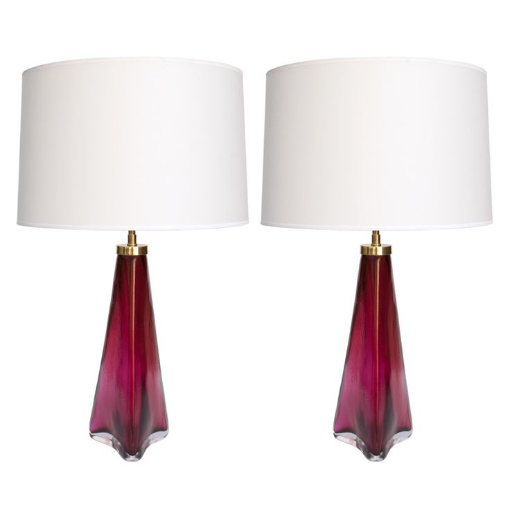 pair orrefors swedish lamps red and clear glass carl fagerlund modern table - Modern Table Lamp