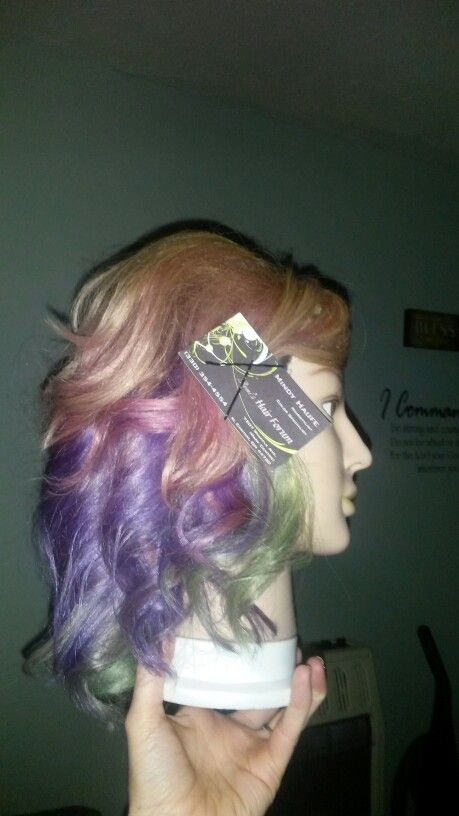 Cotton candy ombre! Medium length with layers. Blonde pink purple & aqua hair color