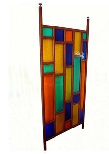 Faux stained glass tension pole divider from 1stdibs.