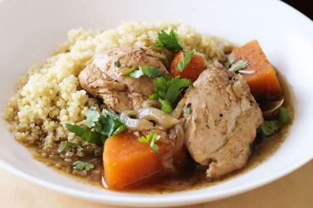 Lower-GI chicken tagine with sweet potato and ginger